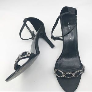 Kenneth Cole NY Black Strappy Rhinestone Sandals
